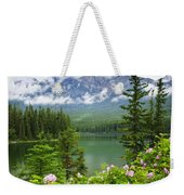 Wild Roses And Mountain Lake In Jasper National Park Weekender Tote Bag