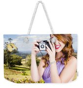 Wildlife Photographer Shooting Insects And Nature Weekender Tote Bag