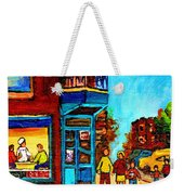 Wilensky's Lunch Counter With School Bus Montreal Street Scene Weekender Tote Bag