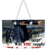 Will You Supply Eyes For The Navy Weekender Tote Bag by War Is Hell Store