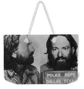 Willie Nelson Mug Shot Horizontal Black And White Weekender Tote Bag