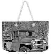Willys Jeep Pickup Truck Monochrome Weekender Tote Bag