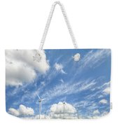 Wind Turbines On A Hill Under A Blue Sky Weekender Tote Bag