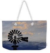 Windmill And Cloud Bank At Sunset Weekender Tote Bag