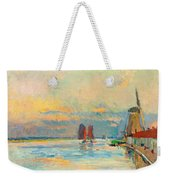 Windmill At A Channel In Rotterdam Weekender Tote Bag