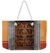Window On Orange Wall San Miguel De Allende Weekender Tote Bag