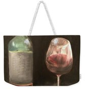 Wine Bottle And Glass Weekender Tote Bag
