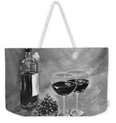 Wine On My Canvas - Black And White - Wine For Two Weekender Tote Bag