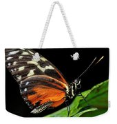 Wing Texture Of Eueides Isabella Longwing Butterfly On A Leaf Ag Weekender Tote Bag