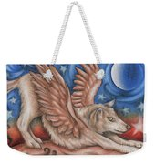 Winged Wolf In Downward Dog Yoga Pose Weekender Tote Bag