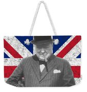Winston Churchill And Flag Weekender Tote Bag