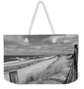 Winter Beach View - Black And White Weekender Tote Bag