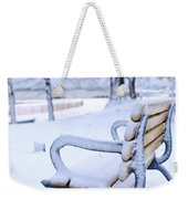 Winter Bench Weekender Tote Bag