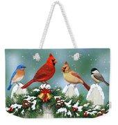Winter Birds And Christmas Garland Weekender Tote Bag