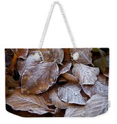 Winter Brown Leaves Powdered With Frost Weekender Tote Bag