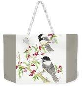 Winter Chickadees And Berries Weekender Tote Bag