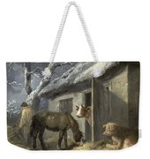 Winter Farmyard Weekender Tote Bag by George Morland