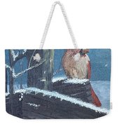 Winter Female Cardinal Weekender Tote Bag