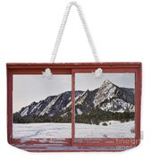 Winter Flatirons Boulder Colorado Red Barn Picture Window Frame  Weekender Tote Bag