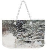 Winter Hare At The Fence Weekender Tote Bag