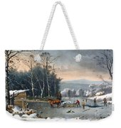 Winter In The Country Weekender Tote Bag by Currier and Ives