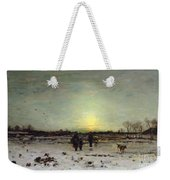 Winter Landscape At Sunset Weekender Tote Bag by Ludwig Munthe