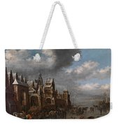 Winter Landscape With Horses Sleighs And Skaters In Front Of A Fortified Town, Weekender Tote Bag
