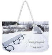 winter landscape with Inspirational Text Weekender Tote Bag