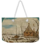 Winter Landscape With Skaters And A Farm House Weekender Tote Bag