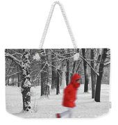 Winter Landscape With Walking Gir In Red. Blac White Concept Gra Weekender Tote Bag