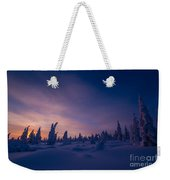 Winter Lanscape With Sunset, Trees And Cliffs Over The Snow. Weekender Tote Bag