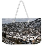 Winter Mountain Village Landscape With Snow Weekender Tote Bag