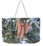Winter Pine Cones Weekender Tote Bag