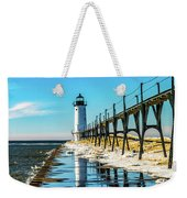 Winter Reflection At Manistee Light Weekender Tote Bag