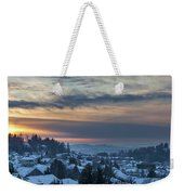 Winter Snow At Sunset In Happy Valley Oregon  Weekender Tote Bag