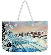 Winter Snow Tracks Weekender Tote Bag
