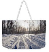 Winter Sport X-country Skis In Sunny Forest Tracks Weekender Tote Bag