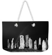 Winter Storm Sky Over Callanish. Outer Hebrides, Scotland.    Black And White Weekender Tote Bag