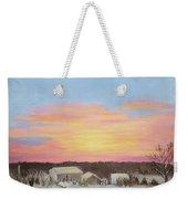 Winter Sunrise On The Farm Weekender Tote Bag