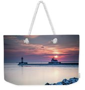 Winter Sunrise Over Canal Park Duluth Mn  Weekender Tote Bag