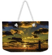 Winter Sunset At Muskegon Channel Light Weekender Tote Bag