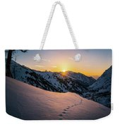 Winter Sunset Over Little Cottonwood Canyon Weekender Tote Bag