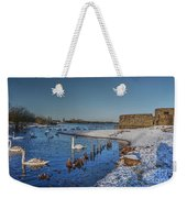 Winter Swan Lake Weekender Tote Bag