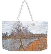 Winter Tree On Pond Shore Weekender Tote Bag