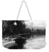 Winter Tree Reflection - Black And White Weekender Tote Bag