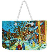 Winter  Walk In The City Weekender Tote Bag