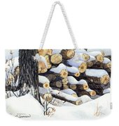 Winter Wood Weekender Tote Bag