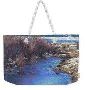 Winter's Edge, Flat Creek Jackson Weekender Tote Bag