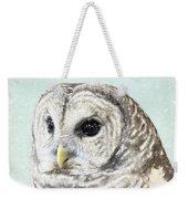 Winters Owl, Barred Hoot Owl Winter Snow Falling Weekender Tote Bag