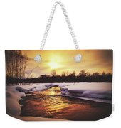Wintry Sunset Reflections Weekender Tote Bag